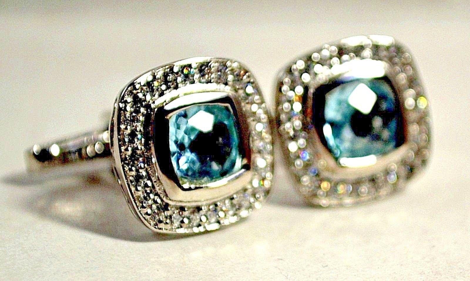 925 Sterling Silver Natural A+ Quality Blue Topaz And Cz Gemstone Artistic Handm