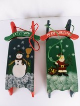 Set of 2 Wooden Christmas Wall Decorat Sled  14 X  43/4 X 11/3 inches - $14.95