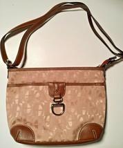 Etienne Aigner Tan Logo Canvas Brown Trim Strap Shoulder Handbag Purse Vintage - $19.75