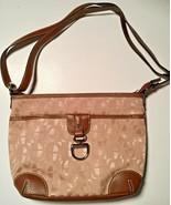 Etienne Aigner Tan Logo Canvas Brown Trim Strap Shoulder Handbag Purse V... - $19.75