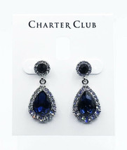Charter Club Pave & Stone Drop Earrings Blue Silver - $11.99