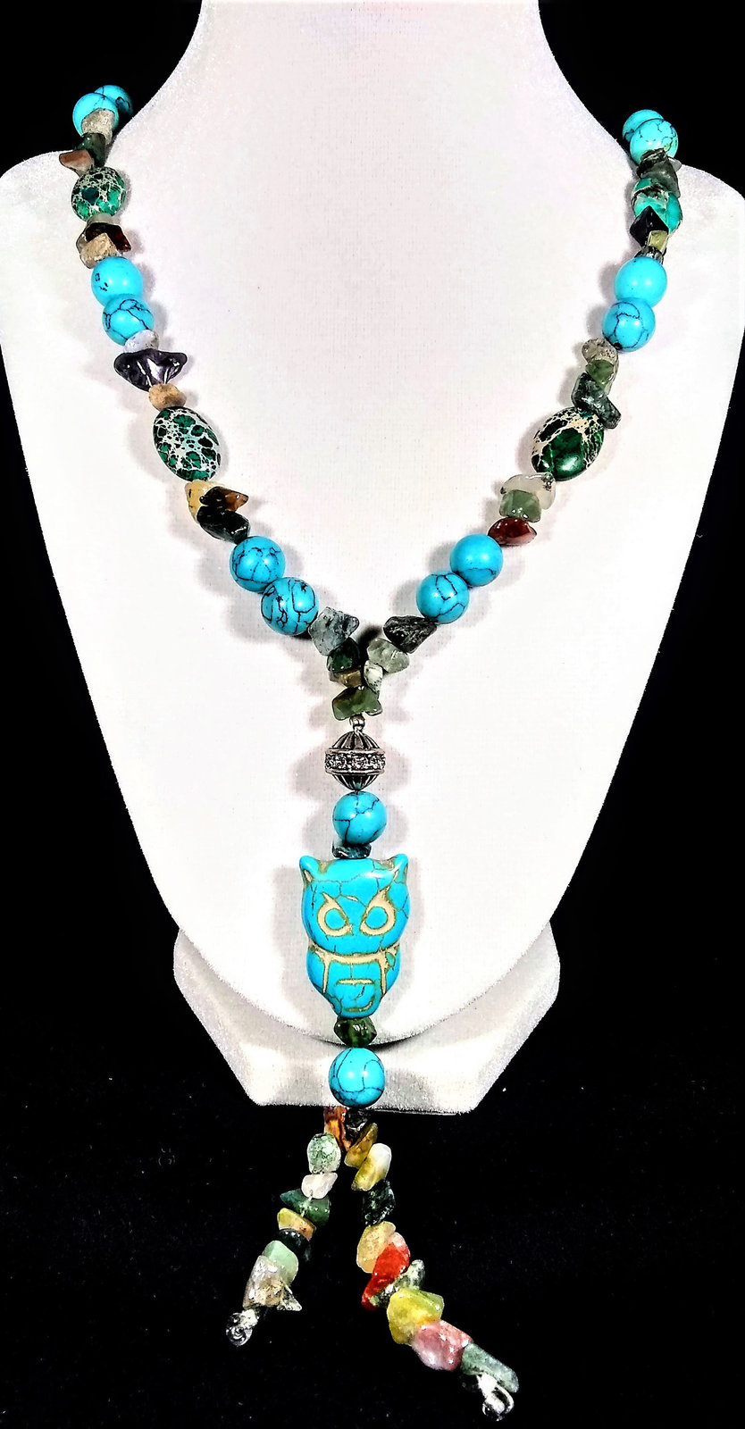 "Primary image for 30"" Genuine turquoise & imperial jasper Y-necklace with owl pendant"