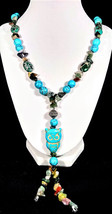 """30"""" Genuine turquoise & imperial jasper Y-necklace with owl pendant - $120.00"""