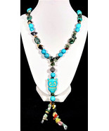 "30"" Genuine turquoise & imperial jasper Y-necklace with owl pendant - $120.00"
