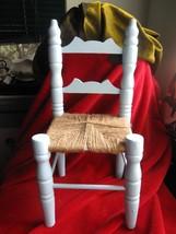"Light Blue Wooden Ladder Back Doll Chair Woven Seat 12"" Tall - $9.46"