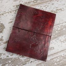 World Map Oversized Large Handmade Leather Journal - $78.00