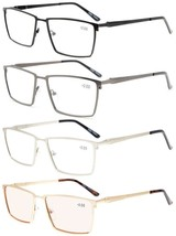 Eyekepper 4-Pack Mens Reading Glasses Spring Hinges Included Tinted Lens +0.75 - $54.21