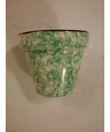 Stangl TOWN & COUNTRY GREEN Spongeware Hand Painted Flower Pot Planter V... - $19.75