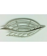 Trifari Leaf Textured Brooch Pin Silver Tone 3 Inch Large Costume Jewelry - $12.86