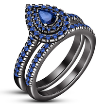 Women's Wedding Ring Bridal Set 14k Black GP 925 Silver Pear Shape Blue Sapphire - $94.94