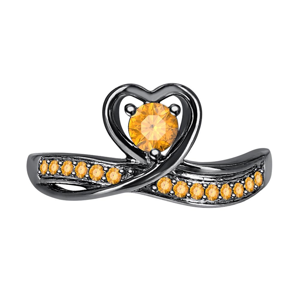 Round Cut Citrine 14k Black Gold Over 925 Silver Lovely Heart Promise Ring - $50.57