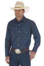 Wrangler Cowboy Cut Work Western Rigid Denim Long Sleeve Shirt, Size 16 ... - $34.64