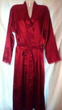Adonna Red Satin Long Robe with Lace Trim Sz L/G ~Sexy/Glam/Holiday/Roma... - ₨1,797.15 INR