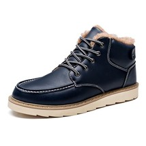BDF Patent Retro Men Boot Warm Fashion Ankle Snow Boot Casual Winter Fur... - $63.73