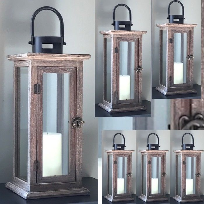 6 Rustic Wood Candle Lantern Large Tall Candleholder Wedding Centerpieces - $149.32