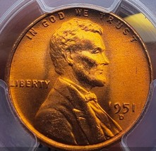 1951 D MS66  RED  LINCOLN WHEAT PENNY CENT PQ. 0295 - $34.30
