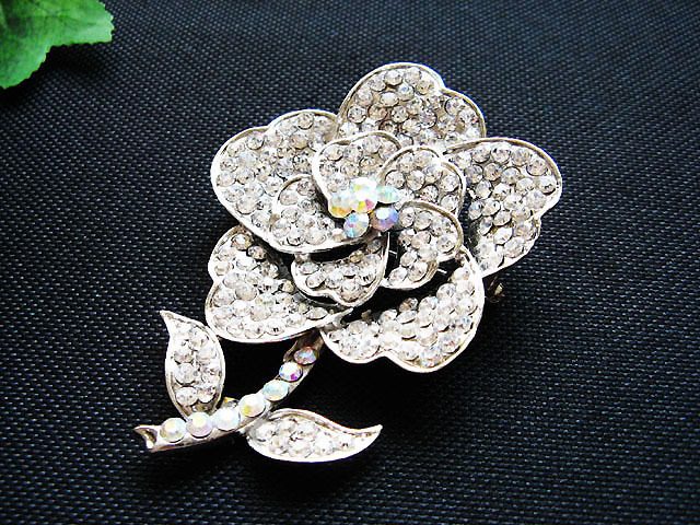 FLORAL CUTE ALLOY FACNY HANDMADE CRYSTAL COMB BROOCH VEIL ACCESSORIES ATTIRE n07