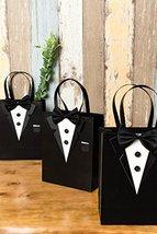 Crisky Classic Black Tuxedo Gift Bags for Groomsman Father's Birthday Anniversar image 3