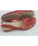 G H Bass & Co SZ 6.5 Women Kade Sandals Closed Toe GENUINE Leather Red S... - $24.75