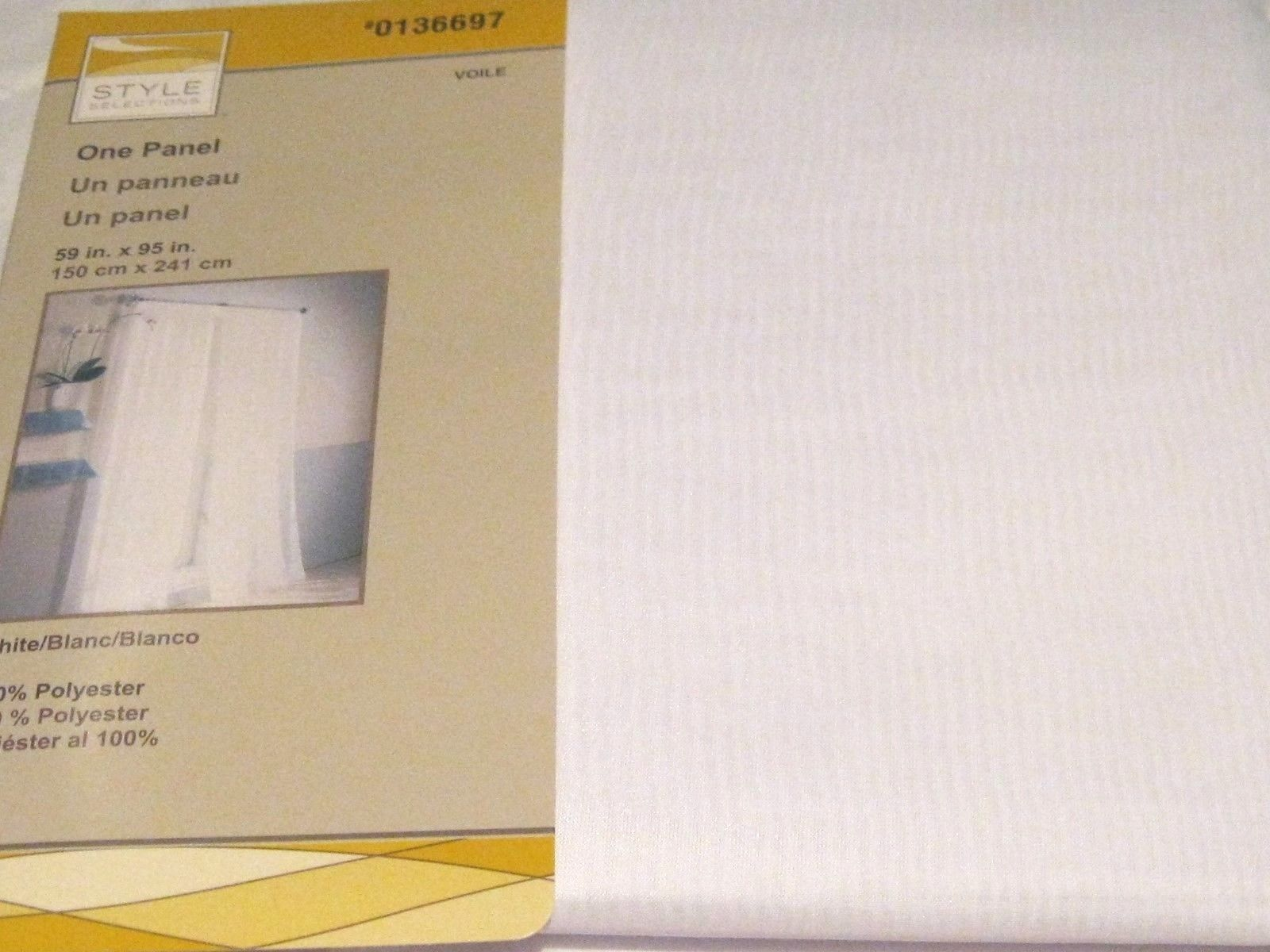 Style Selections Curtain Drape VOILE  White SHEER 59 by 84 L NIP - $24.73