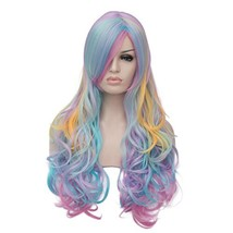 "OYIXU 70cm 27.5"" Multicolor Rainbow Highlights Women Lolita Cosplay Wavy... - $23.48"