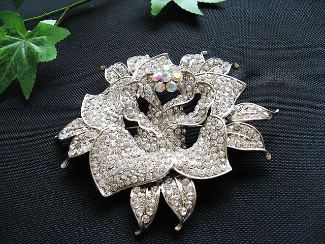 FLORAL CUTE ALLOY FACNY HANDMADE CRYSTAL COMB BROOCH VEIL ACCESSORIES ATTIRE n14