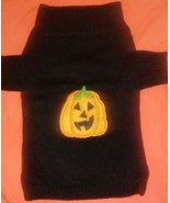HALLOWEEN Dog Sweater w Embroidered style *PUMPKIN*  Black Knit-Size Med... - $8.90