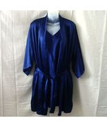 La Lingerie large navy blue short robe and gown with adjustable straps - $15.00