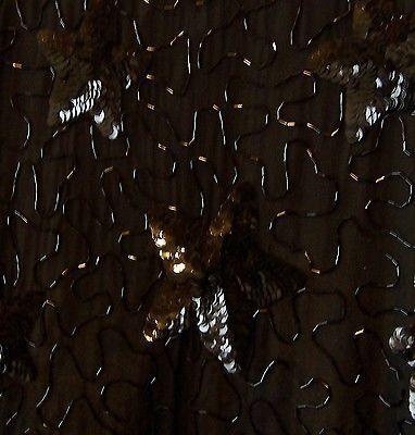 Sz L - Sweelo 100% Silk Black Beaded & Sequin Jacket Top