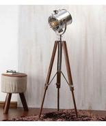 NauticalMart Nickel Finish Mango Wood Tripod Floor Lamp Vintage Decor - $199.00