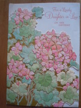 Vintage Hallmark Daughter In Law Birthday Embossed Floral Card 1981 Used - $5.99