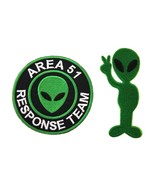 Area 51 Response Team Green Alien Embroidered Applique Iron On Patch UFO... - $3.85
