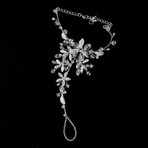 Crystal Floral Pearl Bridal Barefoot Sandal Jewelry Beach Destination We... - $85.45+
