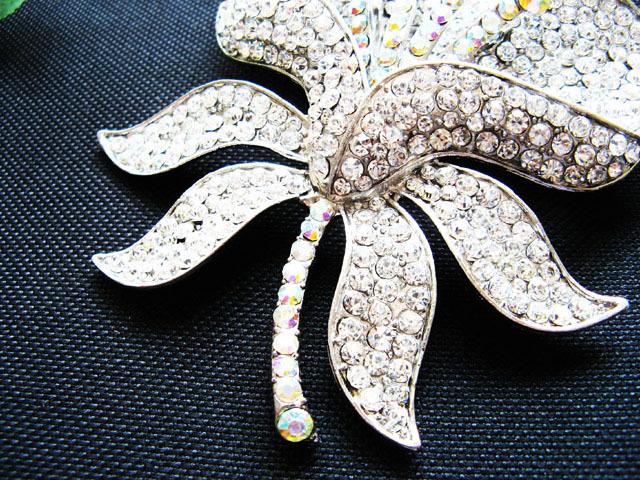 FLORAL ALLOY HANDMADE CRYSTAL BRIDE COMB BRIDAL BROOCH WEDDING ACCESSORIES #15