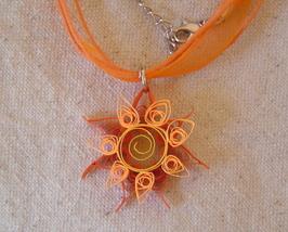 Paper Quilled handcrafted sunburst flower necklace  - $14.99