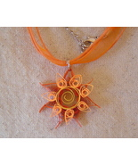 Paper Quilled handcrafted sunburst flower necklace  - $14.99
