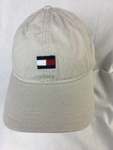 TOMMY HILFIGER Mens Flag Box Logo Strapback Dad Hat Cream Beige Tan - $14.01