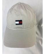 TOMMY HILFIGER Mens Flag Box Logo Strapback Dad Hat Cream Beige Tan - $14.01