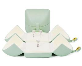 Small Faux Leather Wedding Jewelry Box Organizer- Wedding Jewelry - Sage green image 4