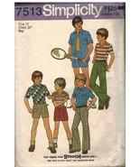 7513 Vintage Simplicity Cartamodello Camicia Bambini in Alto Pantaloni S... - $4.89