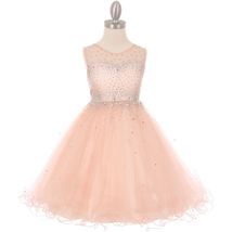 Blush Short Length Sparkling Hand Bead Rhinestones on Illusion Tulle Gir... - $54.00+