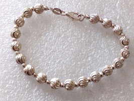 VINTAGE STERLING SILVER TEXTURED BALL BEADS MILOR? BRACELET ITALY - $22.76