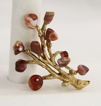 VINTAGE Jewelry EARLY / 60's SWOBODA USIGNED AGATE LEAF LEAVES TREE BROOCH - $33.75