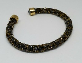 Swarovski Authentic Signed Crystaldust Bracelet Gold Black Cuff - $50.00