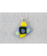 Handmade Coloured Fused Glass Pendant+ Silver Plated Chain & SP Extensio... - $6.92