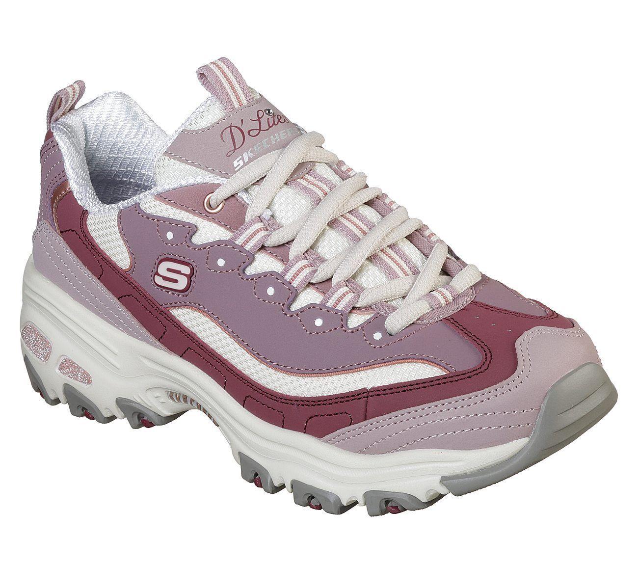 13143 Viola Dlites Skechers Scarpe Donna Sport Memory Foam Sneaker in pelle