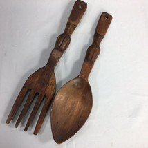 "Vintage Wood Wooden Spoon and Fork Set 13"" Tiki Style Carved MCM Wall De... - $19.97"