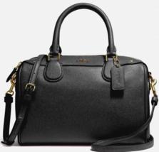 New Coach 32202 mini Bennett Satchel Crossgrain Leather handbag Black - $109.00