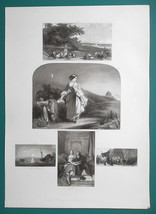 1847 Print Multiple Views - Haymakers at Rest, Isle of Wight, Jealous Ma... - $16.20