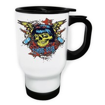 Zombie Star Beautiful Skull New White/Steel Travel 14oz Mug z173t - $17.93